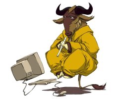 Levitating, Meditating, Flute-playing Gnu